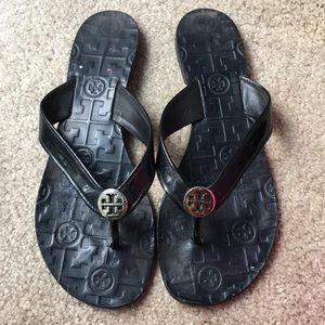Tory Burch Black Patent Leather Thora Sandals 8.5